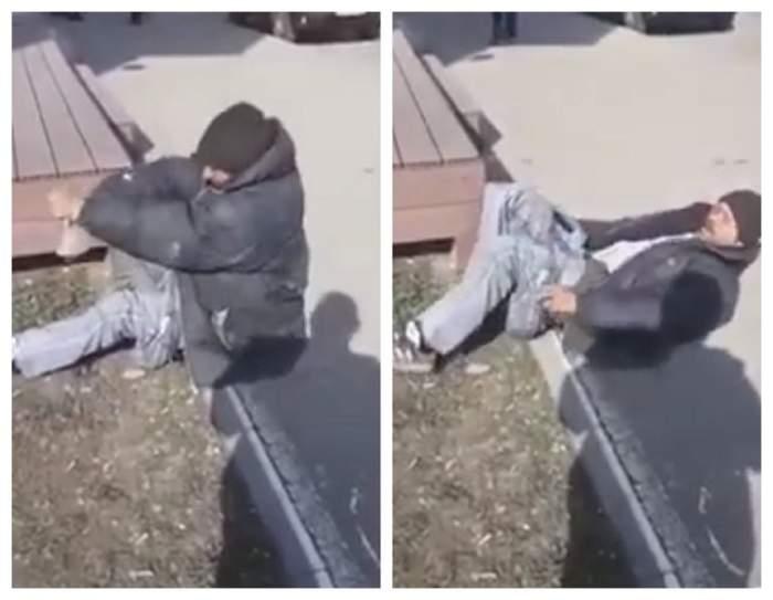 VIDEO / Cerșetor olog, dezbrăcat de polițiști în plină stradă! Șocant ce au descoperit oamenii legii