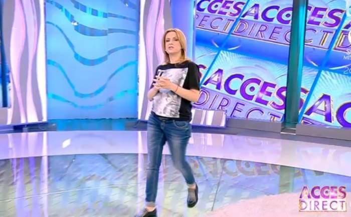 """FOTO / Simona Gherghe, la """"Acces Direct"""" îmbrăcată cu tricoul soțului: """"Când ești foarte gravidă"""""""