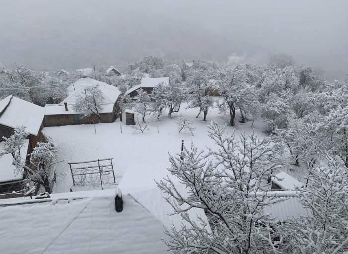 Strat serios de zăpadă în judeţul Buzău! A nins timp de câteva ore