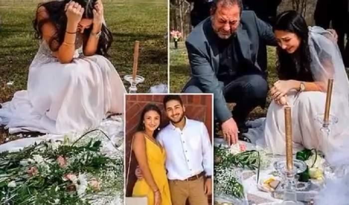 Cutremurător! Mireasă îngenuncheată de durere, la locul unde a fost ucis logodnicul ei, cu puțin timp înainte de nuntă. FOTO