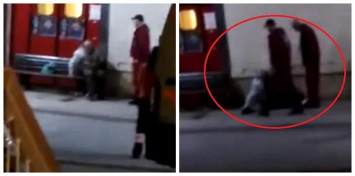 VIDEO / Scene șocante la un spital  din Iași! Un bătrân a fost snopit în bătaie de paznici