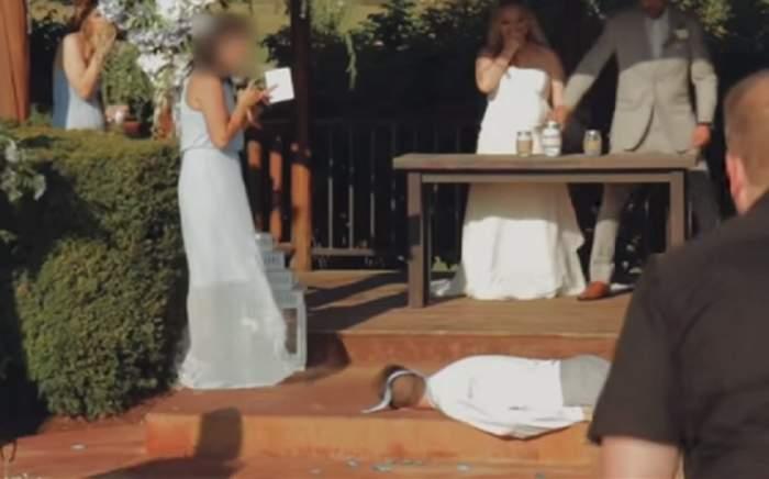 Cavaler de onoare rămas fără doi dinţi, la nuntă! Nu s-a bătut, ci a leşinat după ce a auzit o femeie cântând. VIDEO