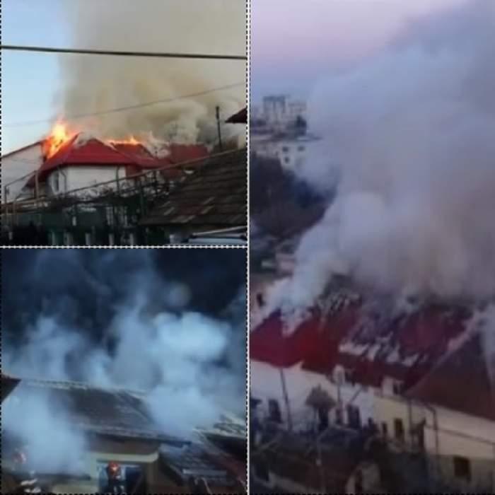 Incendiu de proporții în Iași! Mai multe locuințe au fost cuprinse de flăcări / VIDEO