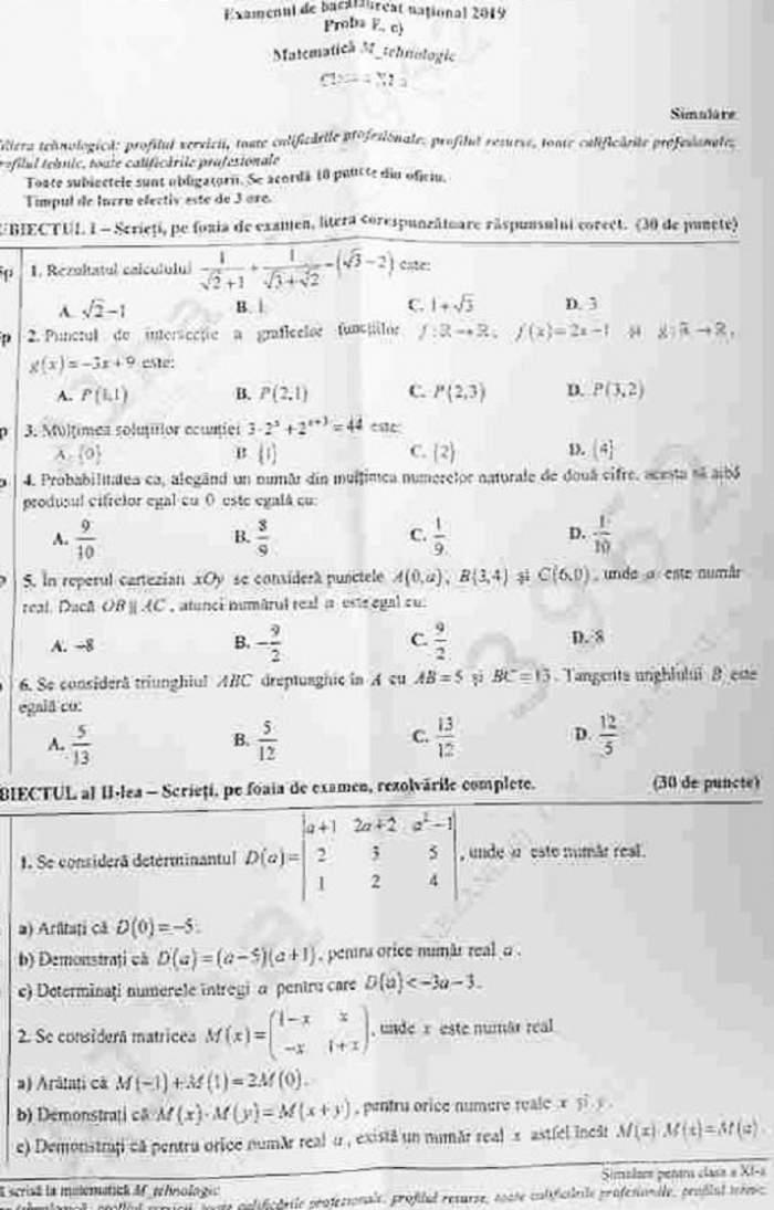Barem și rezolvare pentru subiectele de la matematică. Simulare Bacalaureat 2019