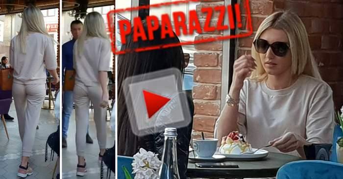 VIDEO PAPARAZZI / E bună fata, dar e bună şi prăjitura! Cu geanta de 8.000 de euro pe masă, Alexandra Becali a pus stop dietei