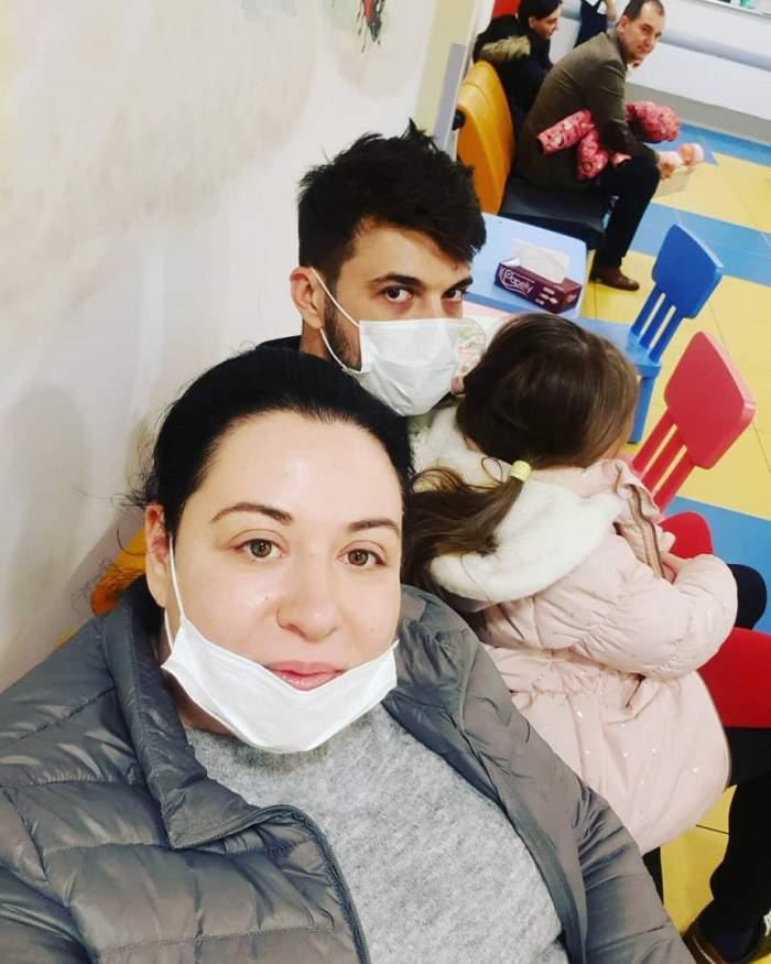 Oana Roman și Marius Elisei au ajuns la spital cu fetița lor