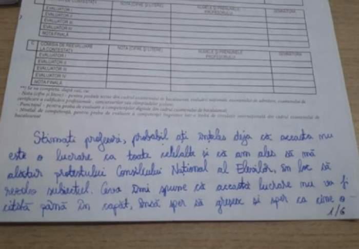 Mesajul acesta i-a lăsat pe profesori mască, la simularea de BAC! Ce a putut scrie o elevă, pe foaia de examen