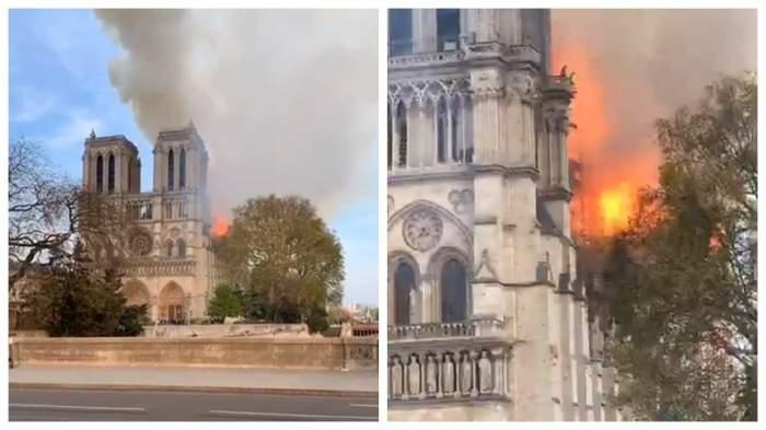Panică în Franța! Catedrala Notre-Dame arde din temelii. FOTO