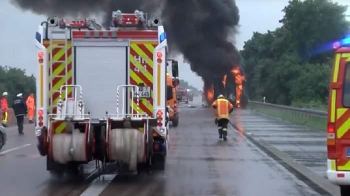 Blocaj de kilometri pe autostradă, după ce camionul la volanul căruia se afla un român a explodat în Austria
