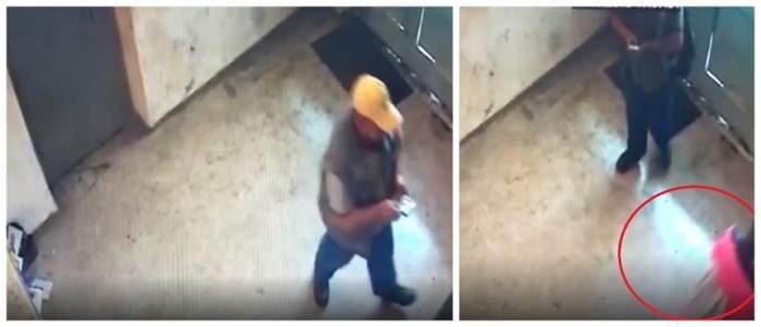 Momentul în care recidivistul atacă o minoră, într-o scară de bloc din Bacău. Totul a fost filmat de camerele de supraveghere! VIDEO