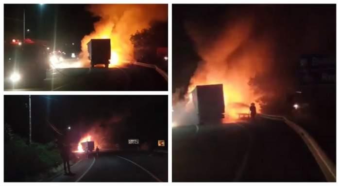 Imagini de coșmar pe DN17! Un TIR a fost cuprins de flăcări. VIDEO