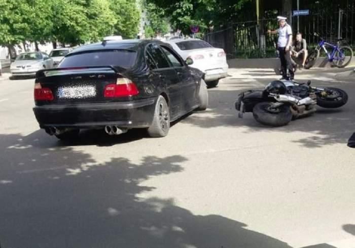 Un motociclist din Vaslui a ajuns la spital! A fost lovit de un autoturism
