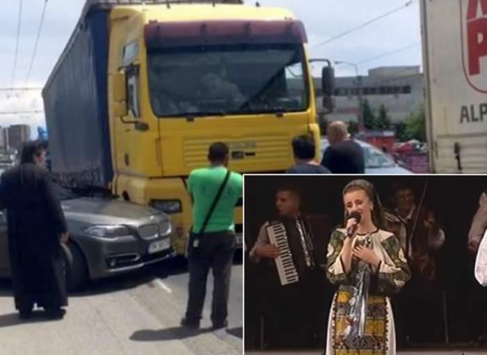 Maşina unei cântăreţe de muzică populară, implicată într-un accident rutier, în Timişoara