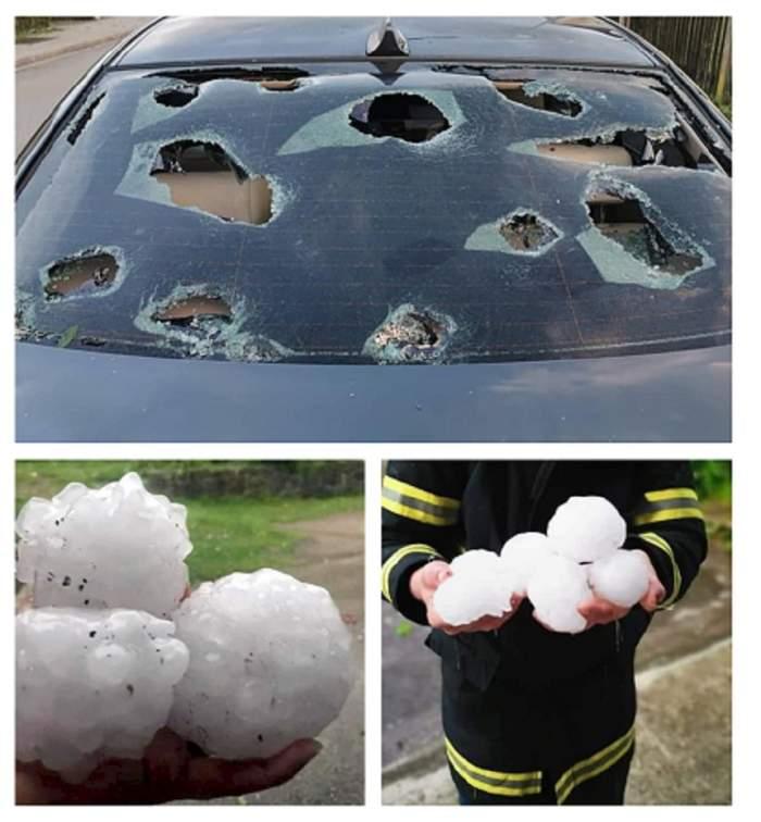 Imagini apocaliptice! Maşini ciuruite şi case distruse de grindina mai mare ca oul de găină. VIDEO