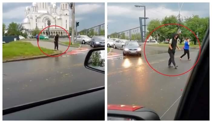 """Imaginile care bat orice scenariu de film! Tânăr sub influența """"drogului zombie"""", filmat în plină stradă în Baia Mare"""