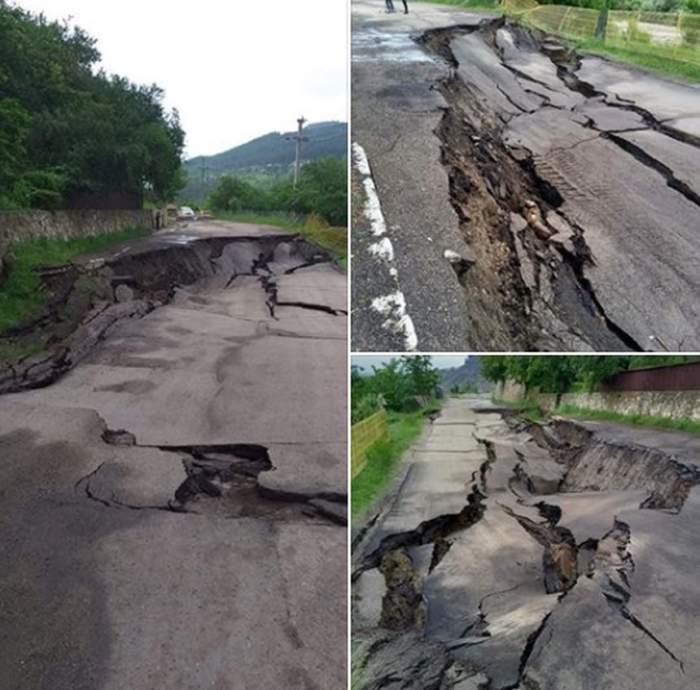 Imaginile dezastrului la Buzău. Un porţiune de drum s-a prăbuşit, în urma furtunilor torenţiale din ultimele zile