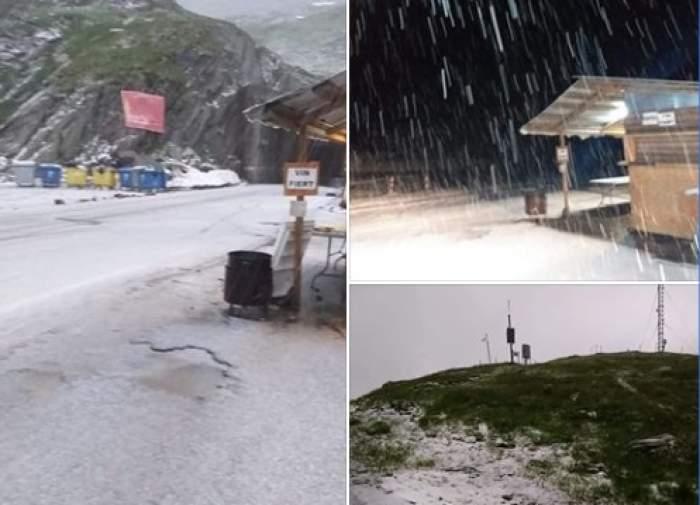 În plină vară, ninge viscolit în România. Stratul de zăpadă are 4 centimetri. FOTO&VIDEO