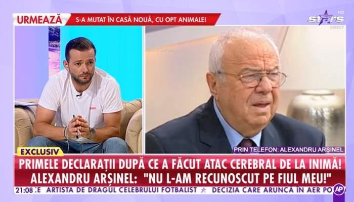 """Alexandru Arșinel, intervenție în direct, după ce a ajuns de urgență la spital: """"Nu l-am recunoscut pe fiul meu"""""""