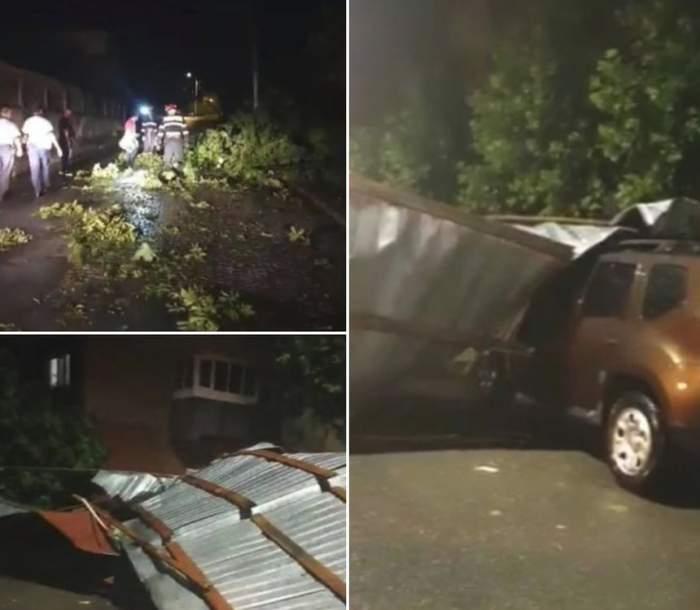 Furtunile au făcut prăpăd în ţară. Acoperişuri smulse, copaci căzuţi peste maşini şi oameni răniţi / VIDEO
