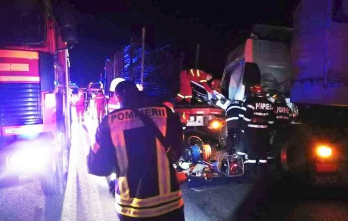 Accident teribil, în Avrig! Un TIR și 3 camioane s-au ciocnit violent