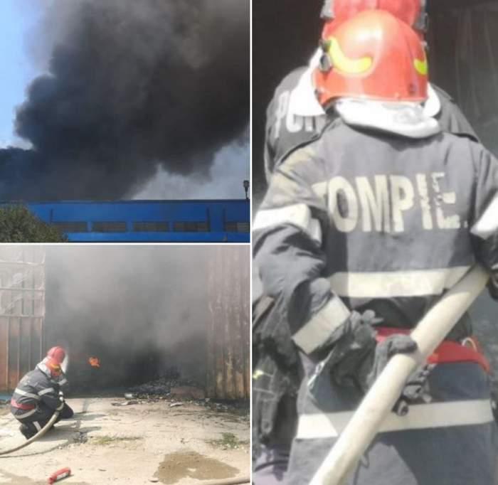 Incendiu devastator, în Constanţa. Arde un depozit de mase plastice. 50 de pompieri se luptă cu flăcările
