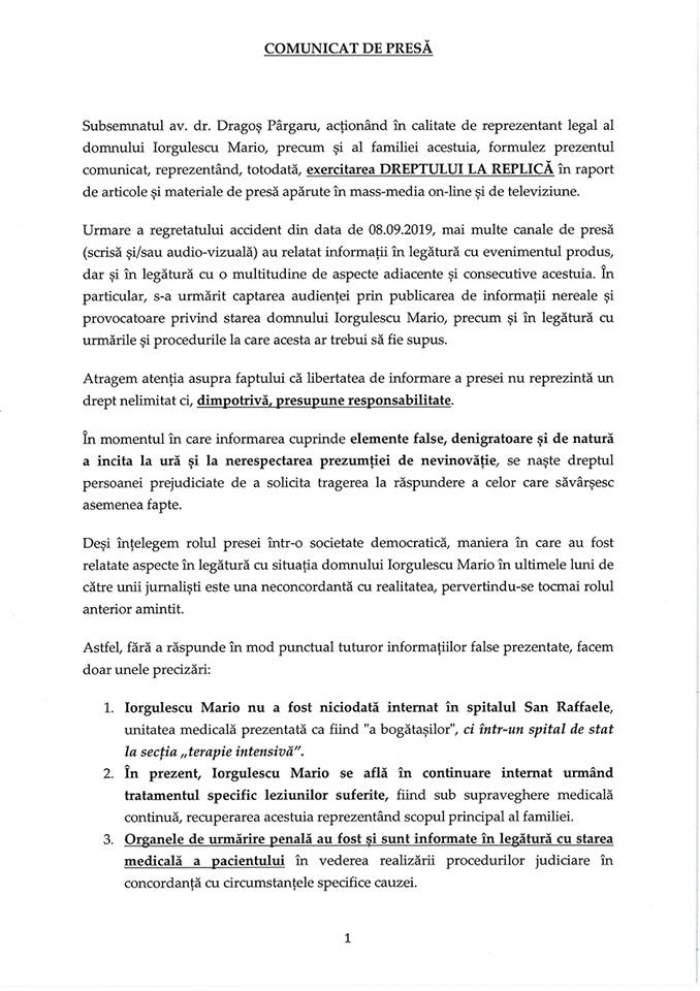 Primele declaraţii ale lui Mario Iorgulescu. Avocaţii au transmis punctul de vedere al familiei