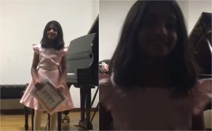Sorina, fetița din Baia de Aramă adoptată în SUA, a susținut primul mini-recital la New York. Minora e as la pian