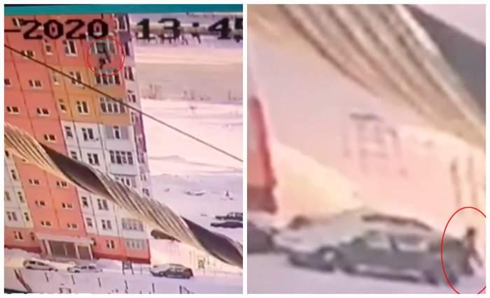 Momentul incredibil când o femeie cade 30 de metri, de la etajul 7, apoi se ridică și pleacă bine mersi / FOTO