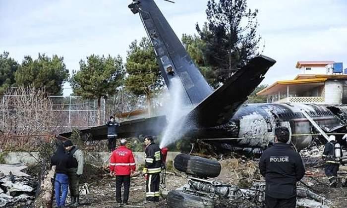 Imagini dezolante cu avionul cu 180 de pasageri, care s-a prăbușit în Iran. Nu există supraviețuitori