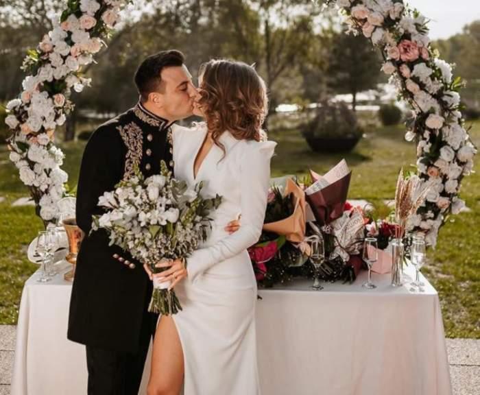 Ce ținute au purtat Valentin Sanfira și Codruța Filip la nunta lor