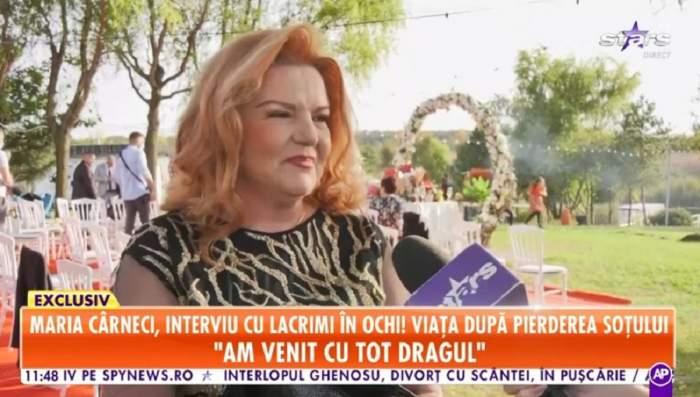 Maria Cârneci la cununia civilă a Codruței Filip și Valentin Sanfira. Artista are ochii în lacrimi, după moarte soțului.