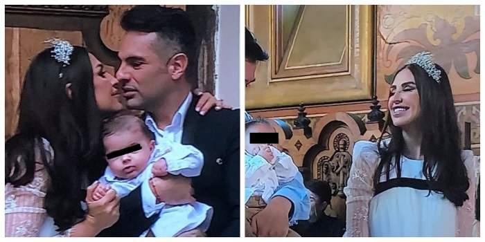 Roxana Blagu și soțul ei sunt la nunta lor și la botezul fiului lor. Ea poartă o rochie albă, iar el un costum negru.
