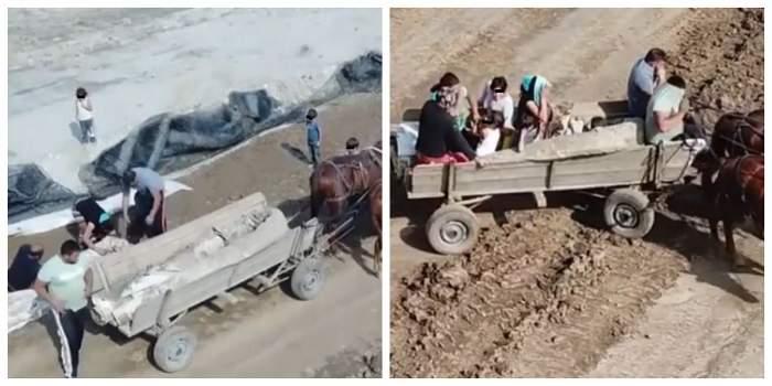 Mai mulți hoți fură materiale folosite pentru Drumul Expres Craiova - Pitești. Cei doi pleacă cu căruța.