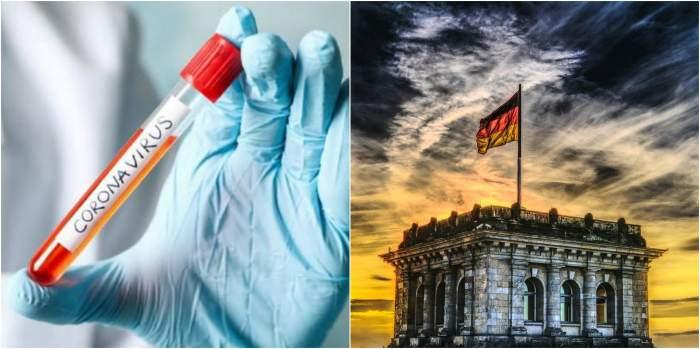 Colaj foro cu o clădire din Germania și mâna unui medic care ține un recipient în mână pe care scrie coronavirus