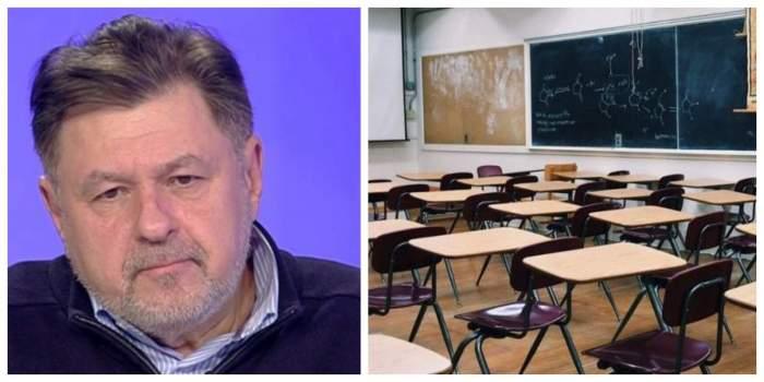 Colaj cu Alexandru Rafila și o sală de clasă.