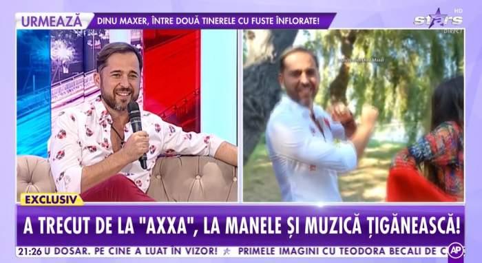 """Captură video cu Dinu Maxer în platou la """"Showbiz Report""""."""