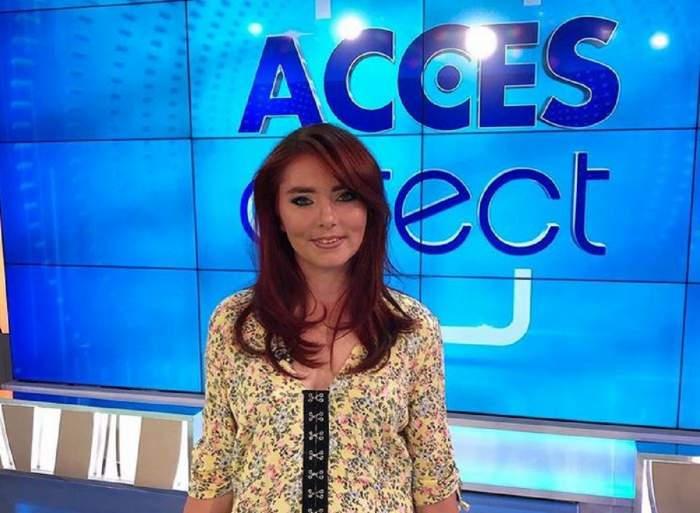 Veronica se află la Acces Direct. Vulpița poartă o rochie galbenă cu flori.