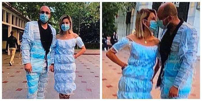 Anisa și Dragoș și-au făcut haine din măști de protecție. Cei doi se țin de mână.