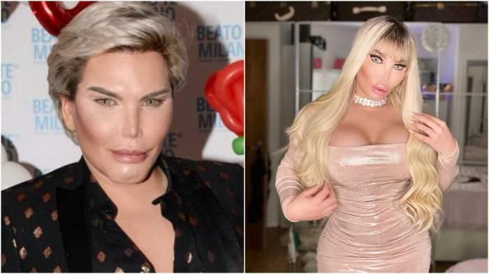 """Colaj cu """"păpușa umană Ken"""" înainte și după ce s-a transformat în Barbie."""