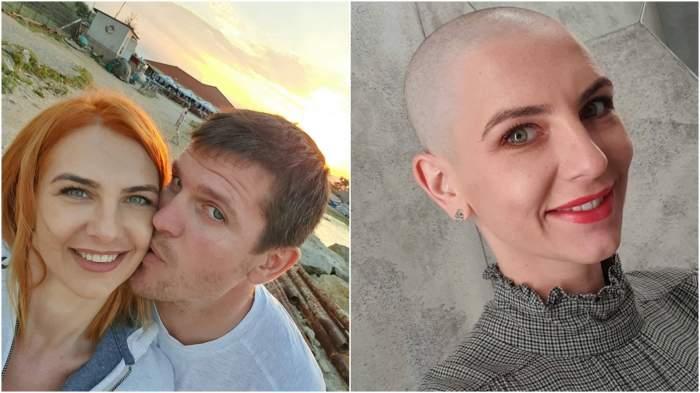 Colaj cu Adina Bourceanu înainte și după ce s-a ras în cap!