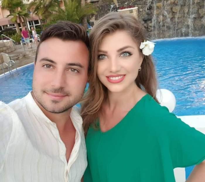 Valentin Sanfira și Codruța Filip s-au fotografiat la piscină, zâmbitori și îmbrățișați