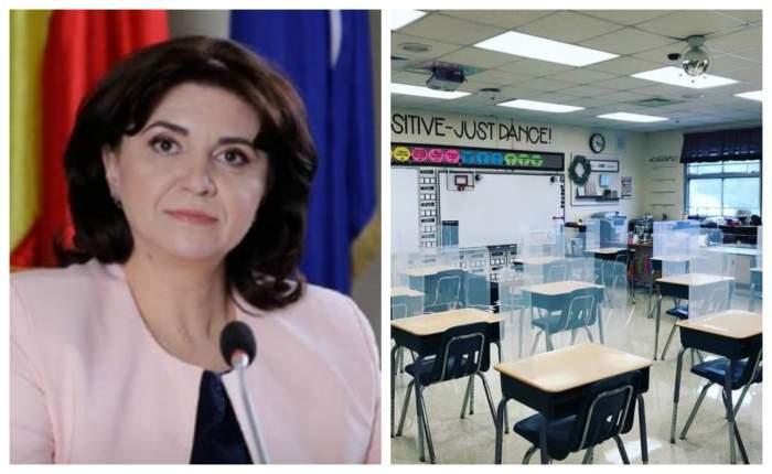 Colaj cu Monica Anisie și o sală de clasă.