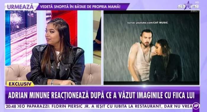 """Fiica lui Adrian Minune în platou la """"Showbiz Report""""."""