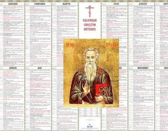 Calendarul ortodox. În mijloc este o imagine cu un sfânt.