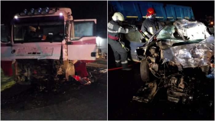 Colaj cu mașinile distruse în accident.