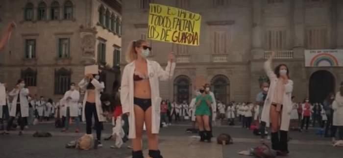 """Medicii din Spania au ieșit la protest în stradă dezbrăcați! """"Am fost scoși din sălile de chirurgie pentru a îngriji pacienți cu COVID"""""""