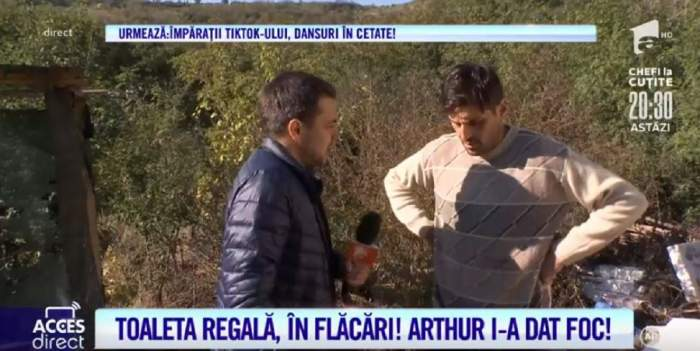 Arthur de la Ceptura este in gradina, alaturi de reporterul de la Acces Direct
