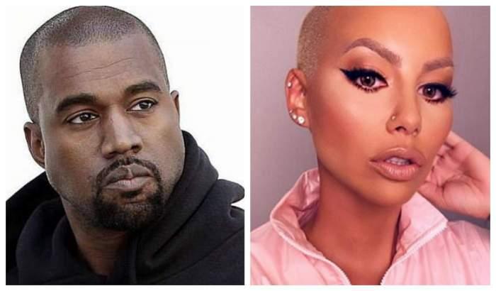 În stanga este Kanye West, in dreapta Amber Rose imbracata cu o bluza roz si machiata strident