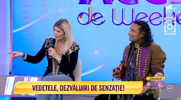 """Marian Cleante și Diana Matei sunt la """"Acces direct de Weekend"""". Cei doi stau pe scaune."""