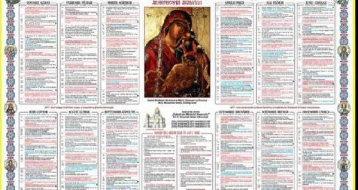 Calendarul ortodox. În mijloc este o imagine cu Maica Domnului și Iisus Hristos.